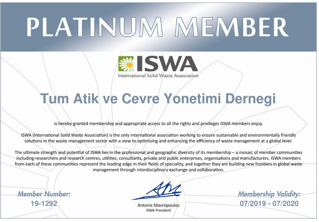 ISWA Platinum Membership Certificate